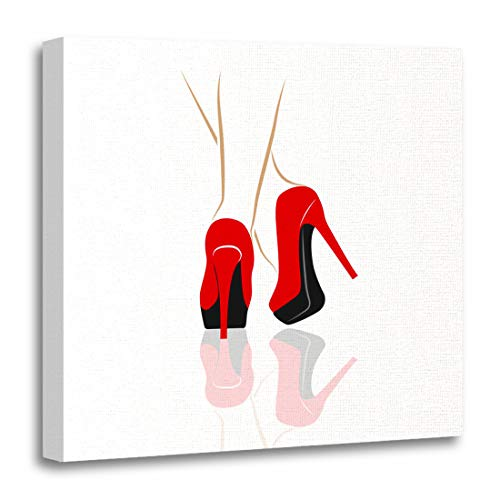 Emvency Canvas Wall Art Print Red Tango Sexy Legs High Heeled Shoes Feet Artwork for Home Decor 20 x 20 Inches