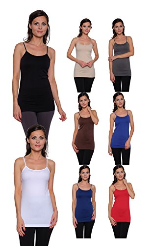 8 Pack Free to Live Women's Seamless Basic Layering Camis