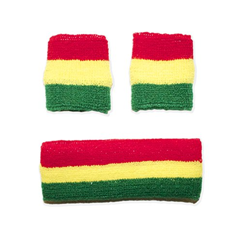 Rasta Head (Rasta Colored Sweatbands 1 Headband + 2 Wristbands)