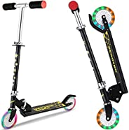 DaddyChild Folding Kick Scooter for Kids 2 Wheel Scooter for Girls Boys, 3 Adjustable Height, PU LED Light Up
