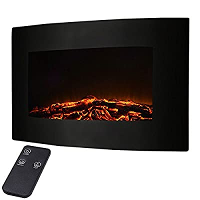 """Giantex 35"""" Xl Large 1500w Adjustable Electric Wall Mount Fireplace Heater W/remote"""