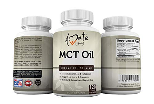 Amate Life Pure MCT Oil Capsules mg - Ketone Energy Boosting Pill - Healthy Dietary Supplement & USA -