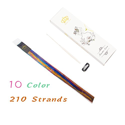 40'' Hair Tinsel 210 Strands 10 Color (Sparking Gold, Green, Hot Pink, Rainbow, Champagne Gold, Crimson, Sky Blue, Sapphire Blue, Silver, Violet) by Tsundere Queen