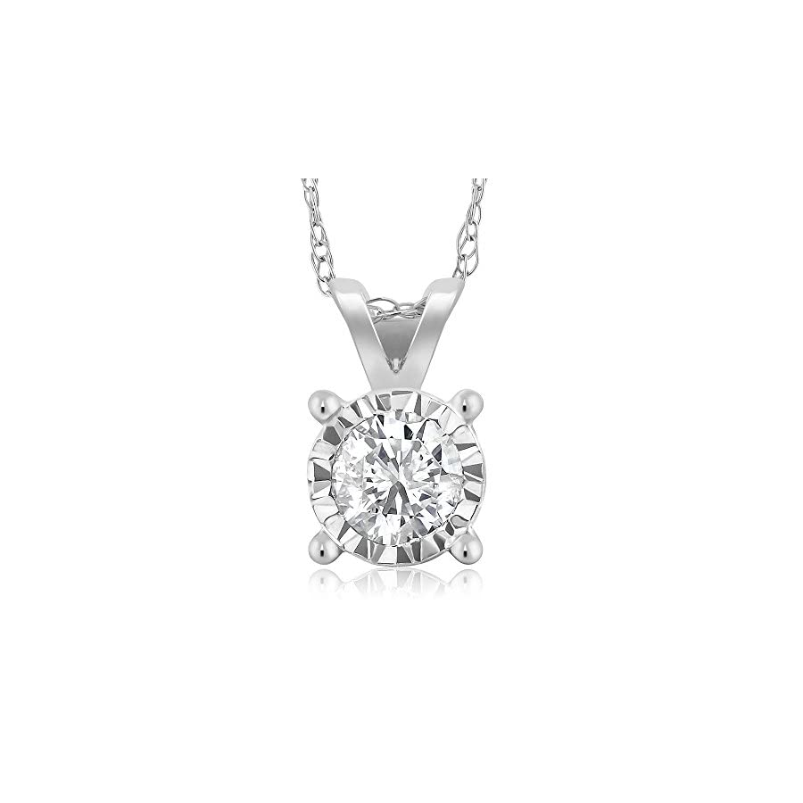 IGI Certified Miracle Illusion Round Diamond Solitaire Pendant in 10K White Gold