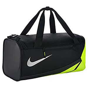Nike Vapor Max Air 2.0 Medium Duffel Bag (Medium, Black/Volt/Metallic Silver)