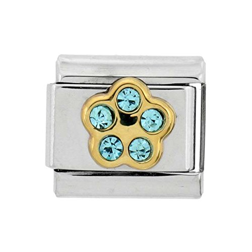 Stainless Steel 18k Gold March Birthstones Charm for Italian Charm Bracelets 5 Stone