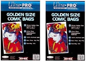 100 ULTRA PRO GOLDEN AGE SIZE RESEALABLE COMIC BOOK BAGS Storage Flap Acid Free