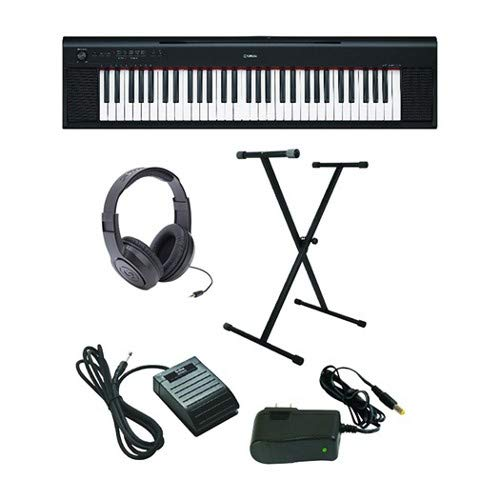 Yamaha Piaggero NP-12 Ultra-Premium Keyboard Package with Headphones, Stand, Sustain Pedal and Power Supply ()