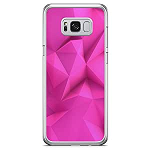 Samsung Galaxy S8 Transparent Edge Phone Case Pink Geometrical Phone Case Geometry Pattern Samsung S8 Cover with See through edges