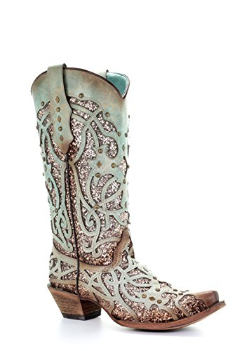 Corral Mint Glitter Inlay and Studs Snip Toe Boots (9.5)