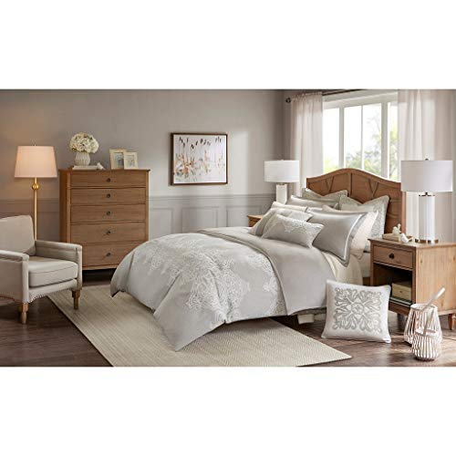 MADISON PARK SIGNATURE Barely There 9 Piece Comforter Set for Bedroom Damask Pattern Embroidery, King Size, Natural