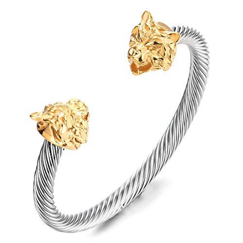 COOLSTEELANDBEYOND Mens Steel Tiger Head Twisted Cable Cuff Bangle Bracelet, Silver Gold Polished Adjustable