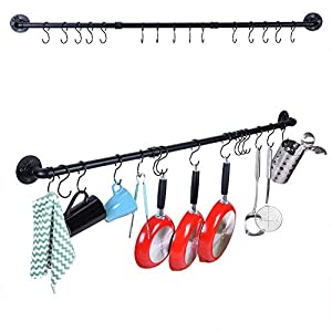 50.4 Inch Kitchen Wall Mount Rail Utensil Rack with 15 Hooks, Pot and Pan Organizer Hanging, Pot Lid Spatula Hanging… 8