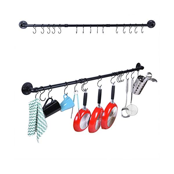 50.4 Inch Kitchen Wall Mount Rail Kitchen Utensil Rack with 15 Hooks, Pot and Pan Organizer Hanging, Pot Lid Spatula… 1
