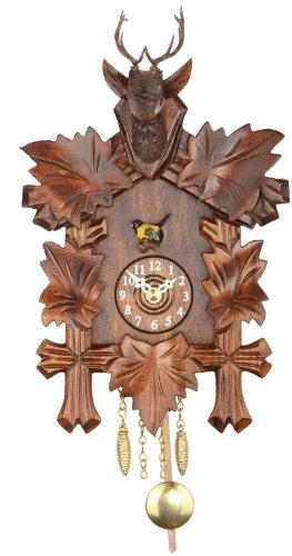 Trenkle Kuckulino Black Forest Clock Black Forest House with Quartz Movement and Cuckoo Chime, 5 Leaves, Head of a Deer TU 2051 PQ