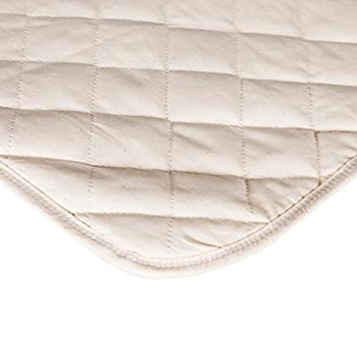 Waterproof Crib Flat Mattress Pad by QuickZip - 100% Natural Cotton Top Layer - Luxuriously Soft! Pairs Perfectly with QuickZip Crib Zip-On Sheets