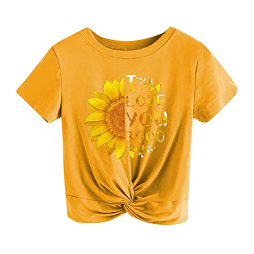 - Toimothcn I Love You 3000 Times Letter&Sunflower Print Casual Short Sleeve Crop Tops Tee for Women Girls(Yellow,L)