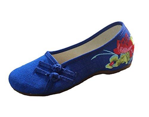 Avacostume Old Beijing Lotus Embroidery Mujeres Flats Zapatos De Vestir Cheongsam Azul
