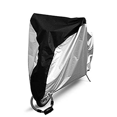 Universal Bike Motocycle Cover -- Waterproof Outdoor Nylon Cover -- Rain UV Dust Wind Proof -- Ultra Thick with Lock Holes & Carry Bag for Motorcycle, Electro-mobile, Cruiser Bikes, Mountain Bike (XL)
