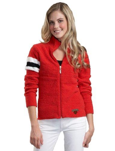 NCAA Brown University Kashwere U 3-Tone Motorcycle Jacket (Red/White, Medium/4-6)