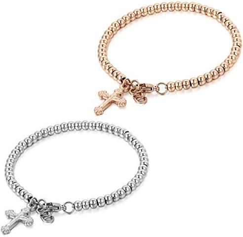 JewelryWe Schmuck Damen-Armband Kreuz Jesus Charme Perle Kette von Hand Edelstahl Fantasie Farbe Silber Rosa Gold