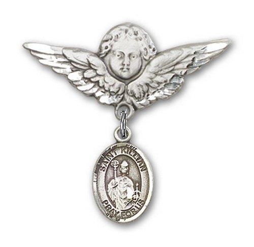 Icecarats Créatrice De Bijoux En Argent Sterling St. Broches Badge Kilian Charme D'Ange 1 1/8 X 1 1/8