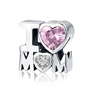 925 Sterling Silver Pink CZ Crystal Heart I Love You Mum Charms Beads Fits European Charm Bracelet