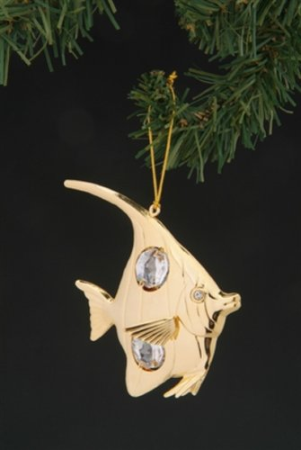 (Angel Fish Swarovski Crystal 24k Gold Plated Ornament)