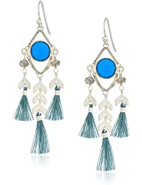 Turquoise Stone and Tassel Drop Earrings