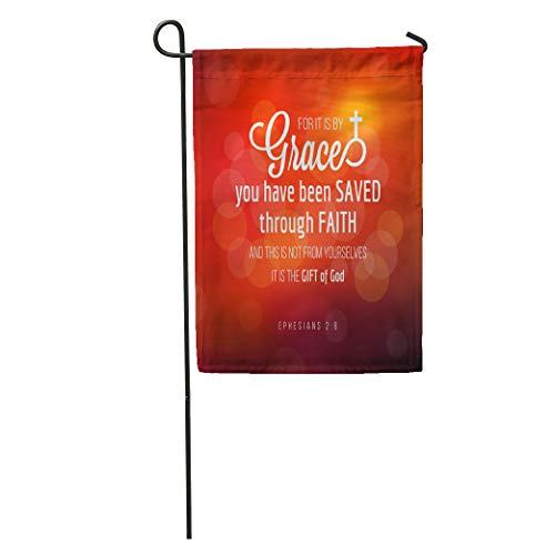 Semtomn Garden Flag Grace You Have Been Saved Through Faith from Ephesians Home Yard House Decor Barnner Outdoor Stand 28x40 Inches Flag (We Have Been Saved By Grace Through Faith)