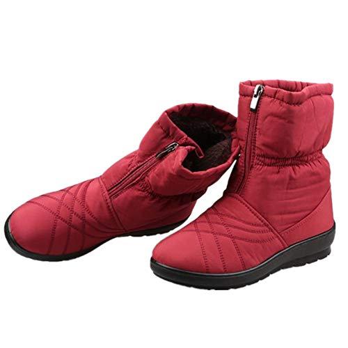 Women's Short Tube Snow Cotton Boots Thicken Bottom Plus Velvet Warm Boots Snow Boots(Red-Lable 38/7 B(M) US Women