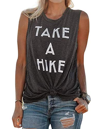 FAYALEQ Take A Hike Tank Tops Women Letter Print Vacation Camping Shirts Summer Casual Sleeveless Vest T-Shirt Size M (Dark Grey) (Take That Best Of)
