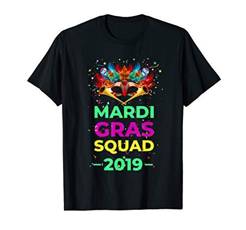 Mardi Gras Squad 2019 with mask Madi Gras Tshirt for women