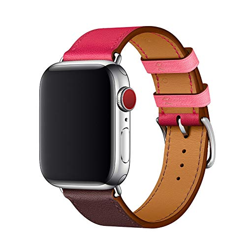 WFEAGL Compatible iWatch Band 38mm 42mm, Top Grain Leather Band Replacement Strap for iWatch Series 4/3/2/1(Wine/Dark Rosered Band+Silver Adapter,38mm 40mm)