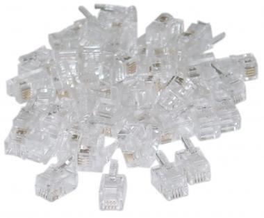 RJ22 4P/4C Connectors for Flat Cable (50 Pcs Per Bag) (Flat Bags Wire)