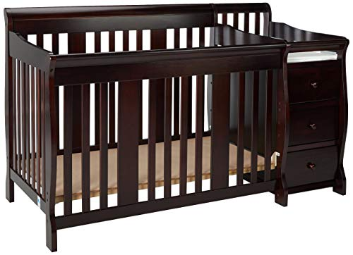 Storkcraft Portofino 4-in-1 Fixed Side Convertible Crib and Changer, Espresso, Easily Converts to Toddler Bed Day Bed or Full Bed, Three Position Adjustable Height Mattress (Mattress Not Included) ()