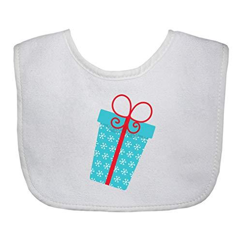 Red Ornament Snowflakes Cotton Boys-Girls Baby Terry Bib Gingham Trim - White, One ()