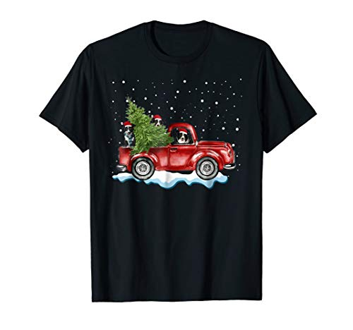 Border Collie Dogs Ride Red Truck Christmas Tshirt Xmas Gift ()