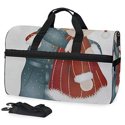 Gym Bag Hugs-Snow People Sport Travel Duffel Bag with Shoes Compartment Large Capacity for Men/Women for $<!--$38.99-->