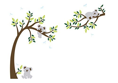 LUCKKYY Three Cute Koalas Tree Branches Wall Decal Wall Sticke Family Tree Wall Decal Vinyl Wall Sticker Baby Nursery Decor Kids Room Decoration (Brown)