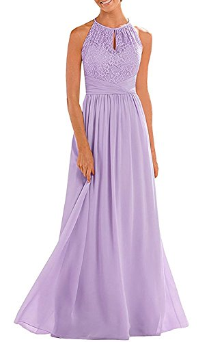 Lafee Bridal A-Line Lace Halter Bridesmaid Dress Chiffon Long Prom Evening Gown Lavender Size 12