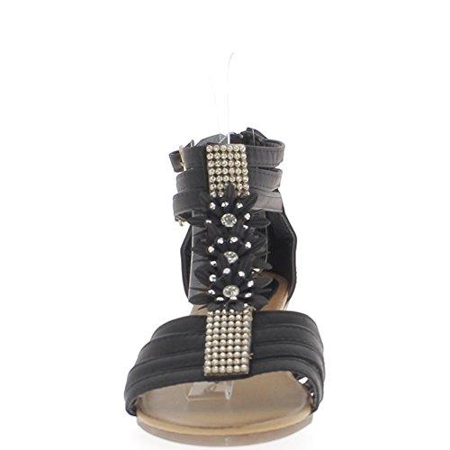 Negro cuña sandalias pequeña 5cm talón rhinestone delgadas bridas y