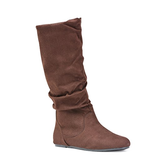 Twisted Women's Shelly Faux Suede Slouch Mid-Calf Boot - BROWN, Size - Knee Brown Suede Boots
