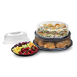 "Party Essentials N121721 Hard Plastic Tray With Clear Dome Lids, 12"", Black"