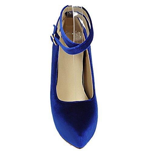 YE Damen Elegant Ankle Strap Wildleder High Heels Plateau Pumps mit Roter Sohle Schnalle Party Schuhe Blau