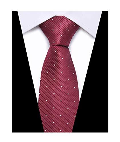 Mens College Burgundy Red Silk Ties Pin Dots Jacquard Gentlemen uk Necktie Gifts ()