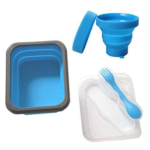 Silicone Collapsible Bowl Cup Set with Spork for Outdoor Camping Hiking Travel - Set of 3-Blue set