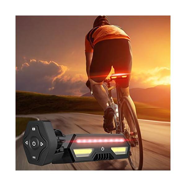 MojiDecor Fanale Posteriore per Bicicletta Impermeabile USB Ricaricabile Luce Posteriore Bici con LED Indicatore di Direzione 3 Modalità d'Illuminazione Lampada per Mountain Bike Bicicletta 2 spesavip
