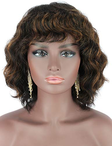 Beauart 100% Remy Human Hair Wig with Hair Bangs Black Brown Highlights Short Wavy Curly Wigs for Women 12 Inches,5.2 oz with Free 2 Pieces Wig caps