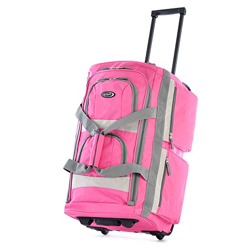 """Price comparison product image Olympia 22"""" 8 Pocket Rolling Duffel Bag in Hot Pink"""